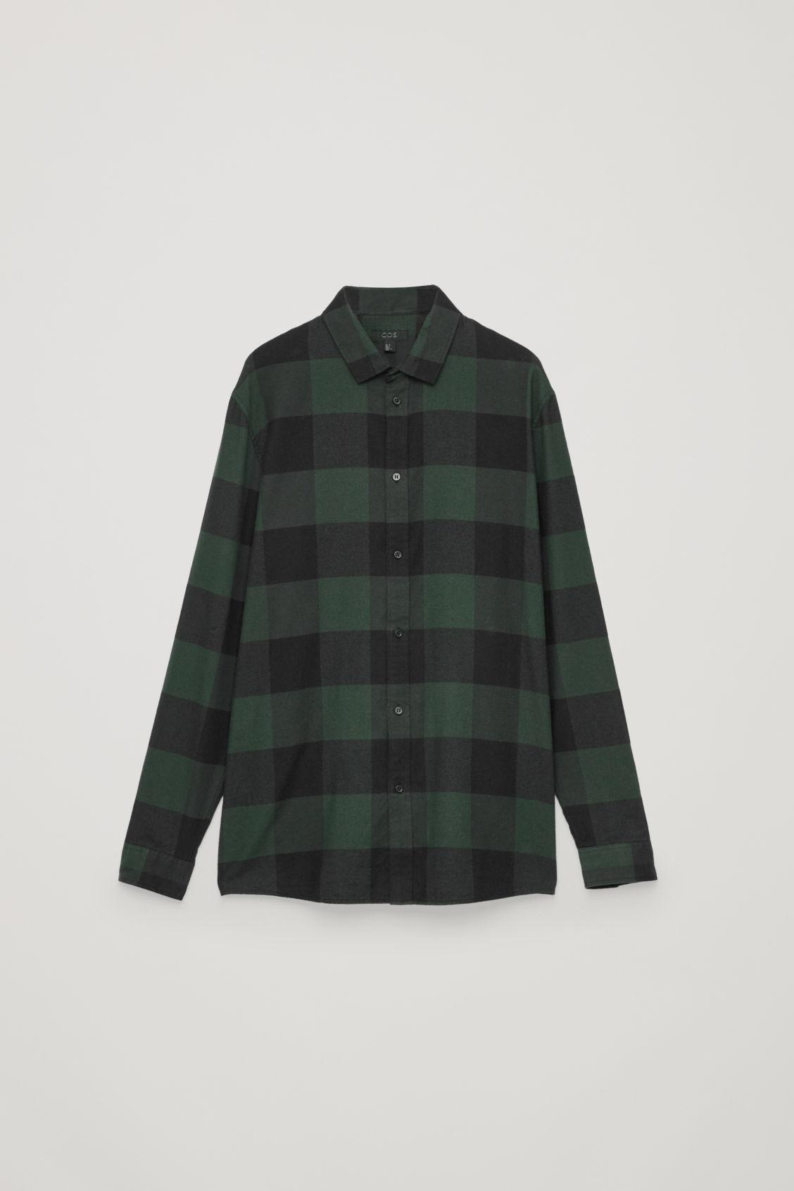 Cos Checked Cotton Shirt In Green