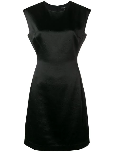 Theory Structured Fitted Short-Sleeve Cocktail Dress In 001 Black