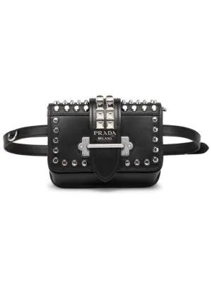 ebbc7ff4e482 Prada Cahier Studded Belt Bag In Black | ModeSens