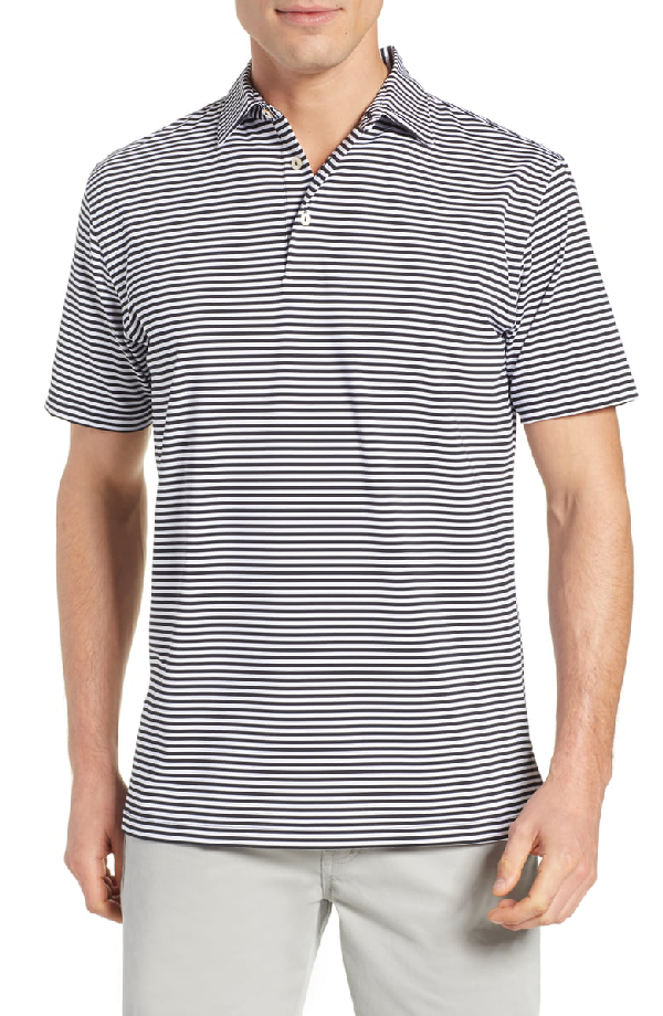 117ffe14b12 Peter Millar Men's Competition Striped Jersey Polo Shirt In Black/White