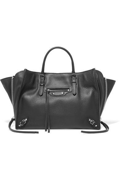 Balenciaga Papier A6 Small Textured-Leather Tote In Black
