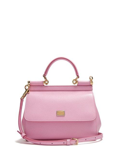 6d2be013ac73a Dolce & Gabbana - Sicily Small Dauphine Leather Bag - Womens - Light Pink