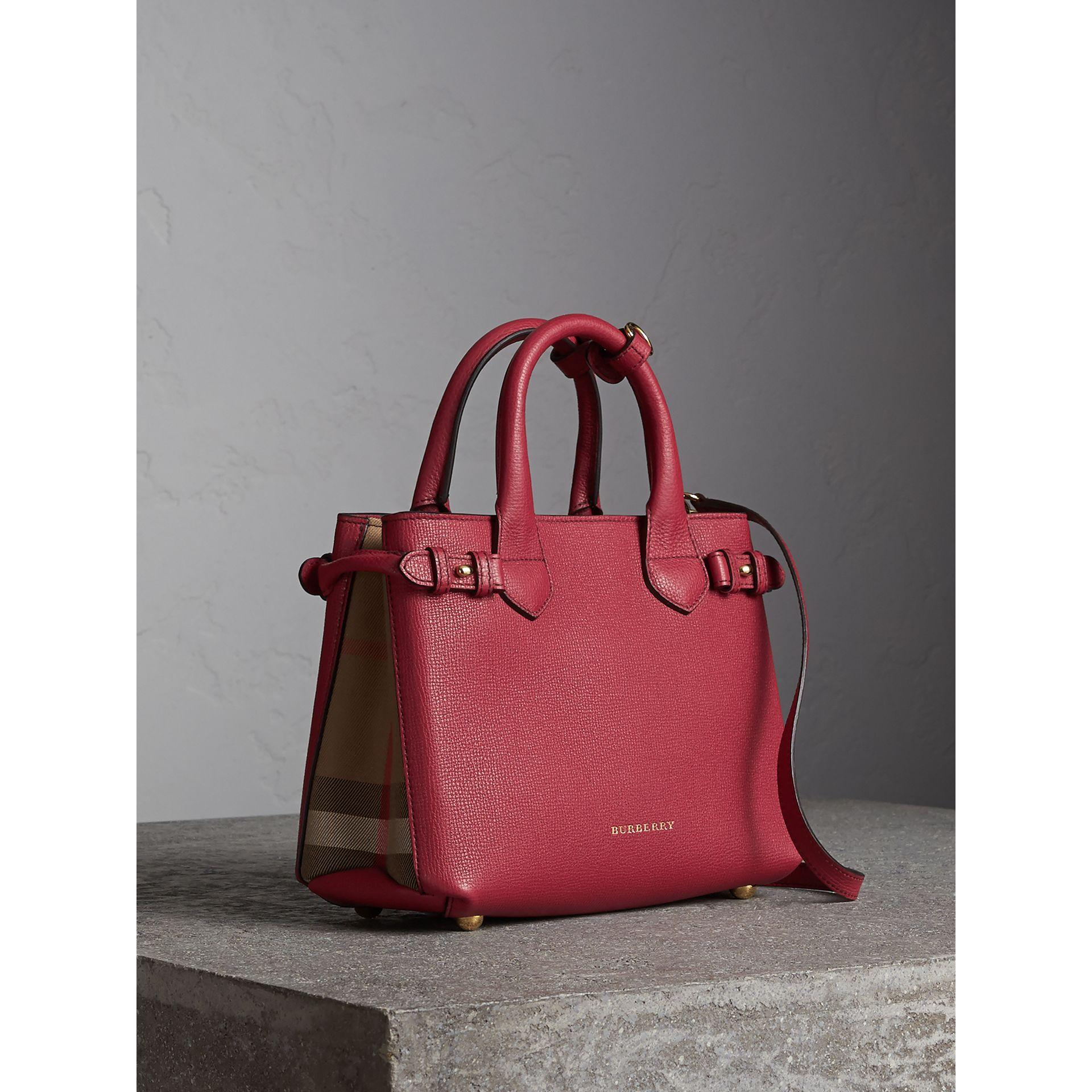 41ea7c8cac18 Burberry The Small Banner In Leather And House Check In Russet Red ...