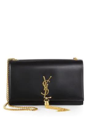 Saint Laurent Medium Kate Monogram Tassel Leather Shoulder Bag In Nero