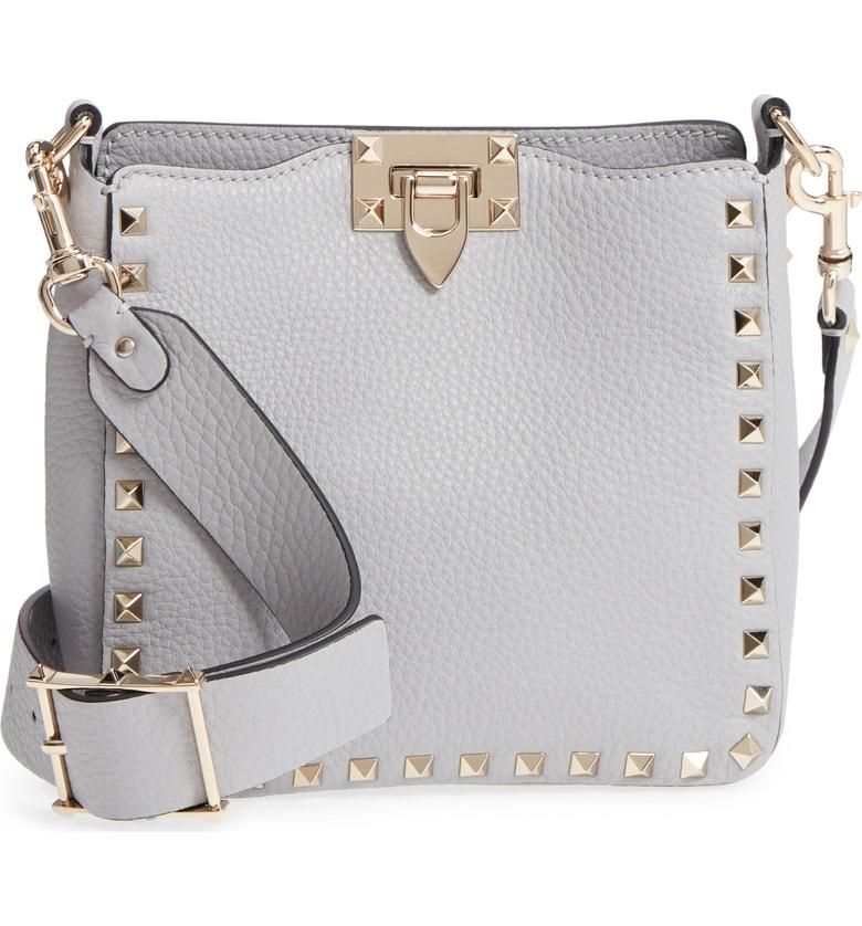 42220b5e58d Valentino Rockstud Mini Hobo Crossbody Bag - Grey In Pastel Grey ...