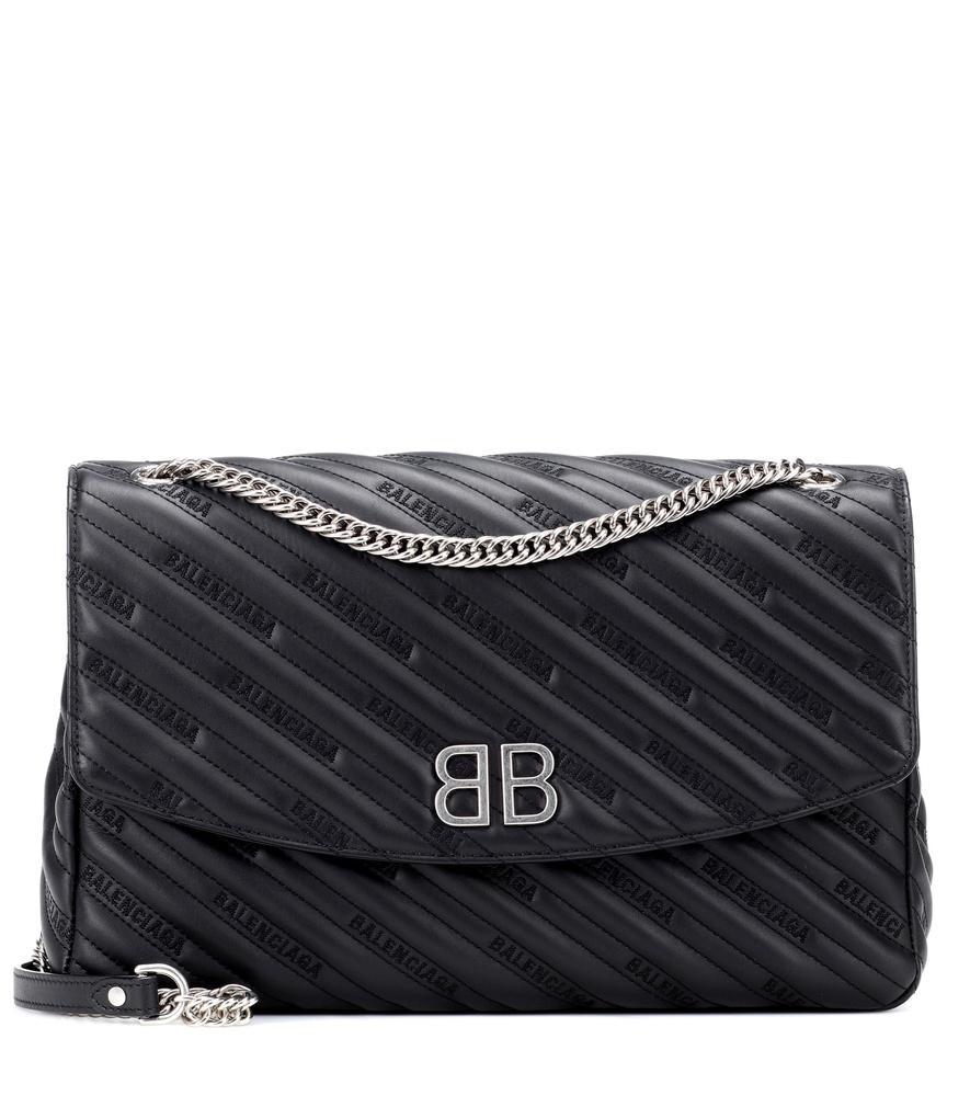 d5931e8486e280 Balenciaga Bb Round L Leather Shoulder Bag In Black   ModeSens