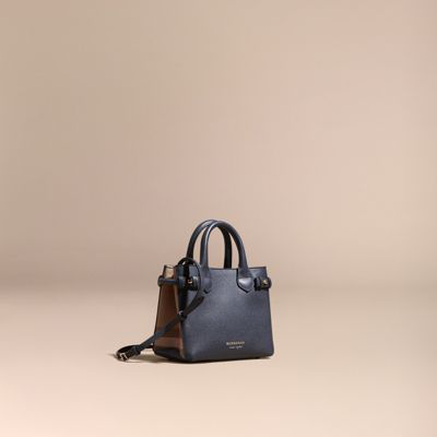 05e76319d7fd Burberry The Baby Banner In Leather And House Check In Ink Blue ...