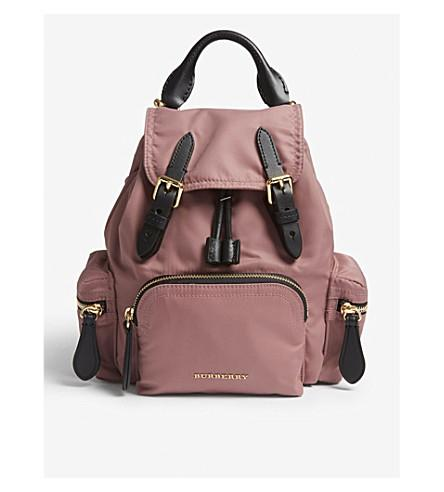 Burberry Shell And Leather Backpack In Mauve Pink