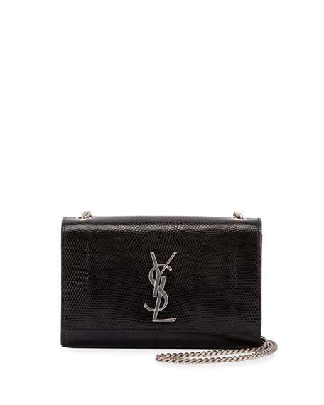 7c52bf428aa Saint Laurent Kate Monogram Ysl Small Lizard Chain Shoulder Bag In Noir