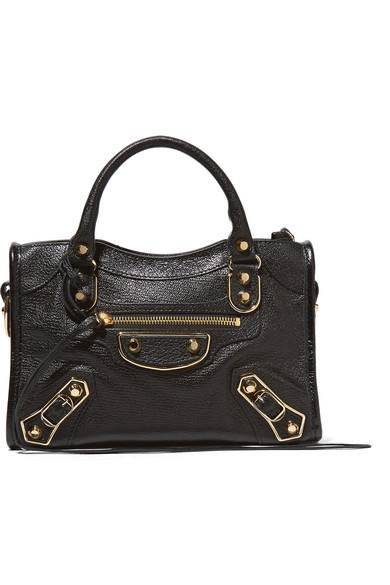 bc8a2f6bb228 Balenciaga Classic Metallic Edge City Mini Textured-Leather Shoulder ...