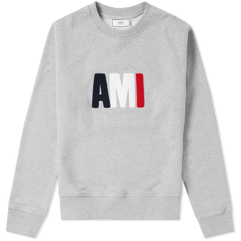 Ami Alexandre Mattiussi Ami Large Tricolour Logo Sweat In Grey