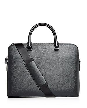 f26430faff28 Michael Kors Harrison Crossgrain Leather Briefcase In Black