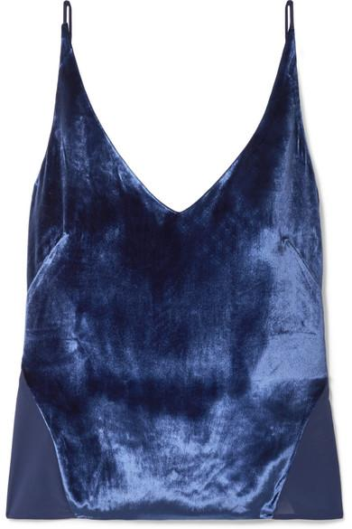 J Brand Lucy Velvet And Silk-Georgette Camisole In Blue