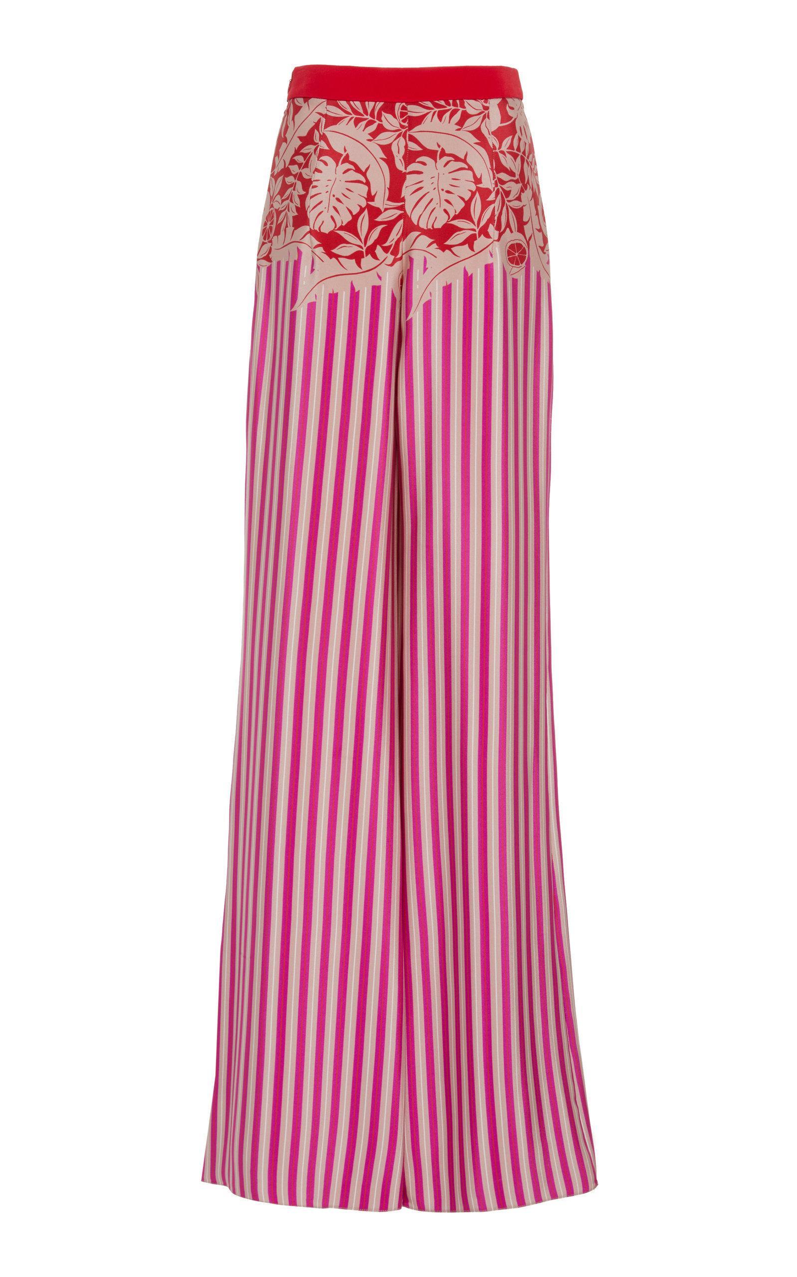 Cushnie High-Rise Silk Striped Wide-Leg Trousers In Pink