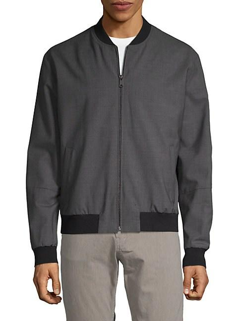 Vince Worsted Bomber Jacket In Steel