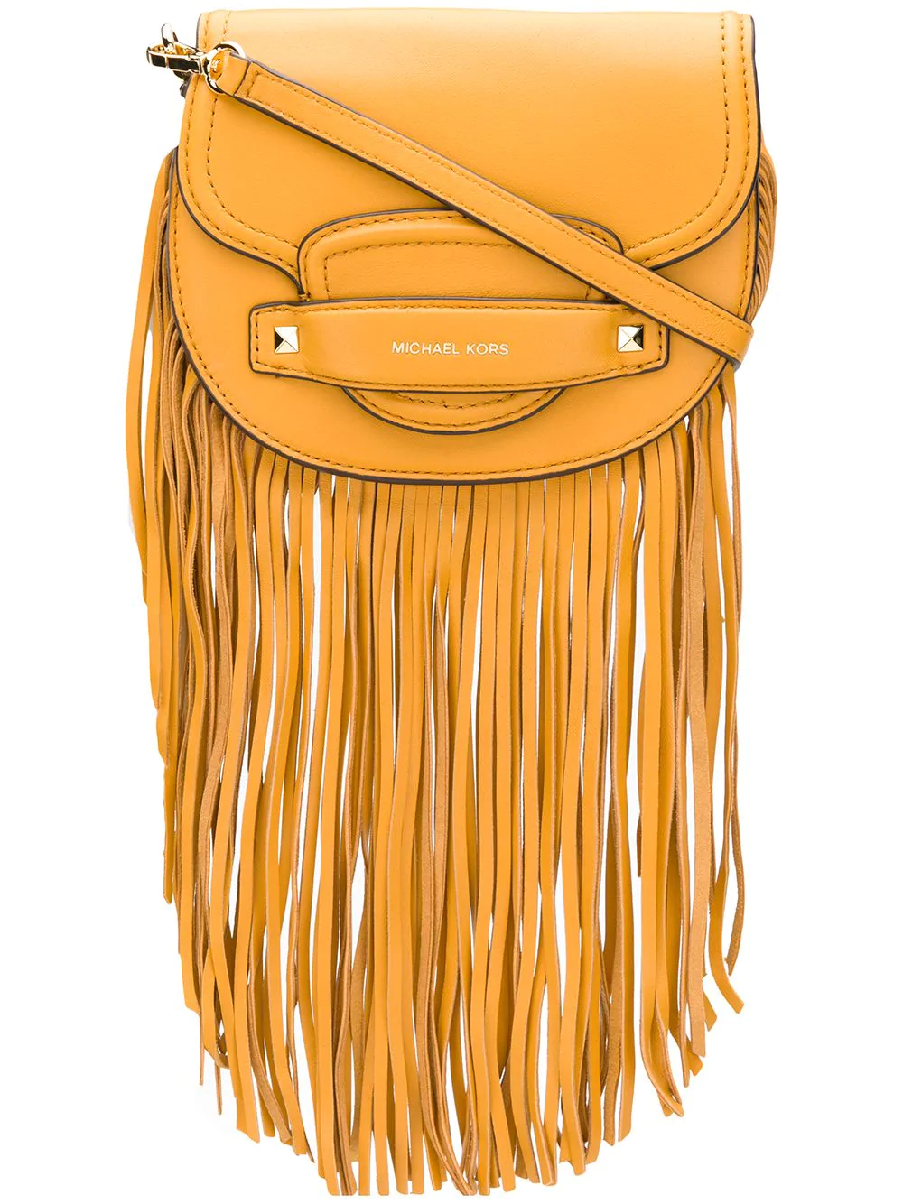 efe40c094d00 Michael Michael Kors Small Cary Fringed Saddle Bag - Yellow | ModeSens