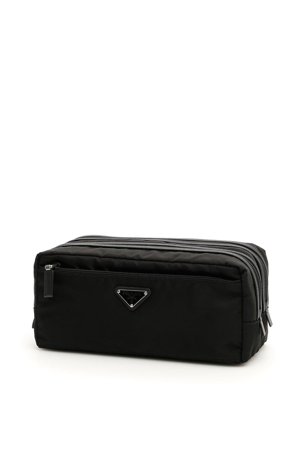 8a5a30db942f Prada Front Zip Toiletry Bag In Black   ModeSens