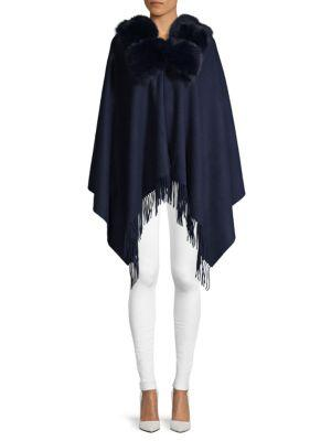 67a182ce0 Belle Fare Dyed Fox & Rabbit Fur Collar, Wool & Cashmere Poncho In Navy