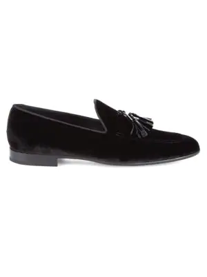 Saks Fifth Avenue Leather & Velvet Smoking Slippers In Black