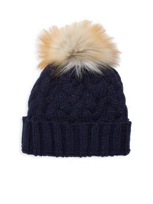 97c22f5ed003f0 Adrienne Landau Natural Fox Fur Pom Pom Hat In Navy | ModeSens