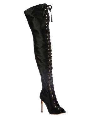 Gianvito Rossi Marie Satin Lace-up Peep-toe Over-the-knee Boots In Black