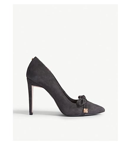 the best great quality exquisite design Ted Baker Gewell Bow Detail Suede Courts In Charcoal | ModeSens