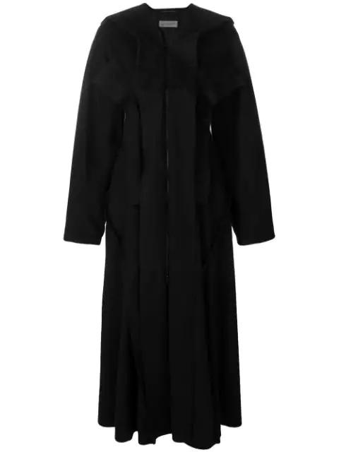 Yohji Yamamoto Flared Midi Coat In Black