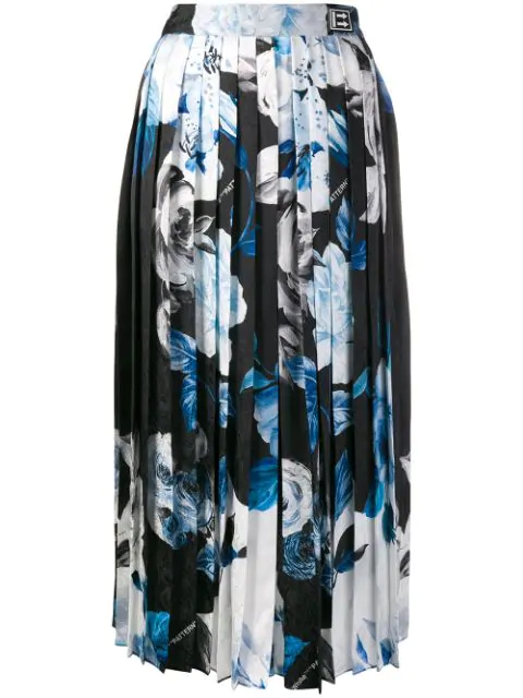 Off-White Pleated Floral-Print Silk-Moire Culottes In Black