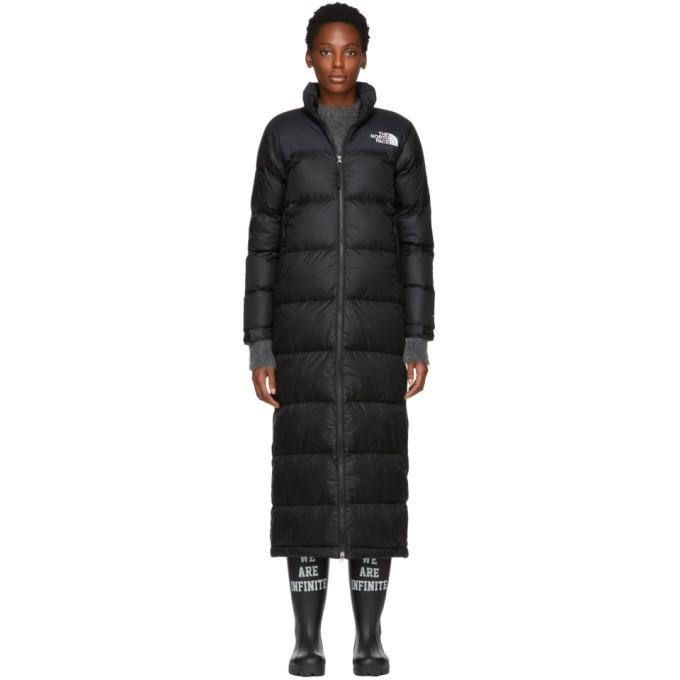 The North Face Black Down Nuptse Duster Jacket In Jk3 Tnf Blk  b50c4b24a
