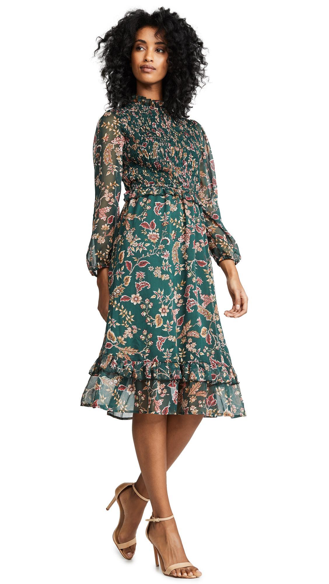 61e4c82df537 Moon River Floral Midi Dress In Pine Paisley