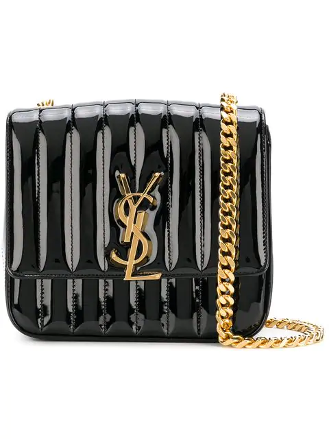 dfa7c2019ae Saint Laurent Vicky Monogram Ysl Large Quilted Patent Chain Crossbody Bag  In 1000 Black
