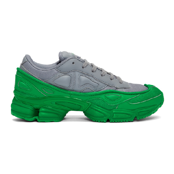 online retailer d4652 e9611 Raf Simons + Adidas Originals Ozweego Mesh And Leather Sneakers - Gray
