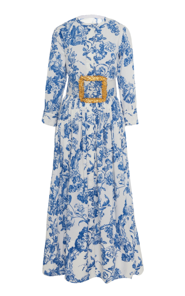 f5d8a39247 Oscar De La Renta Belted Floral-Print Stretch-Cotton Dress | ModeSens