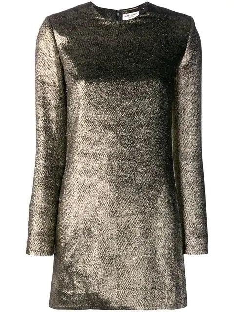 Saint Laurent Metallic Mini Dress In 1055 Bronze