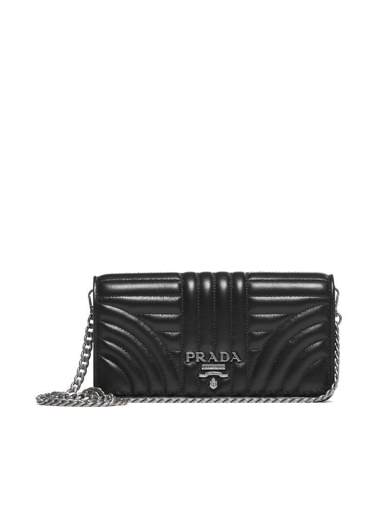 649e43b337 Prada Diagramme Chain Clutch In Black | ModeSens