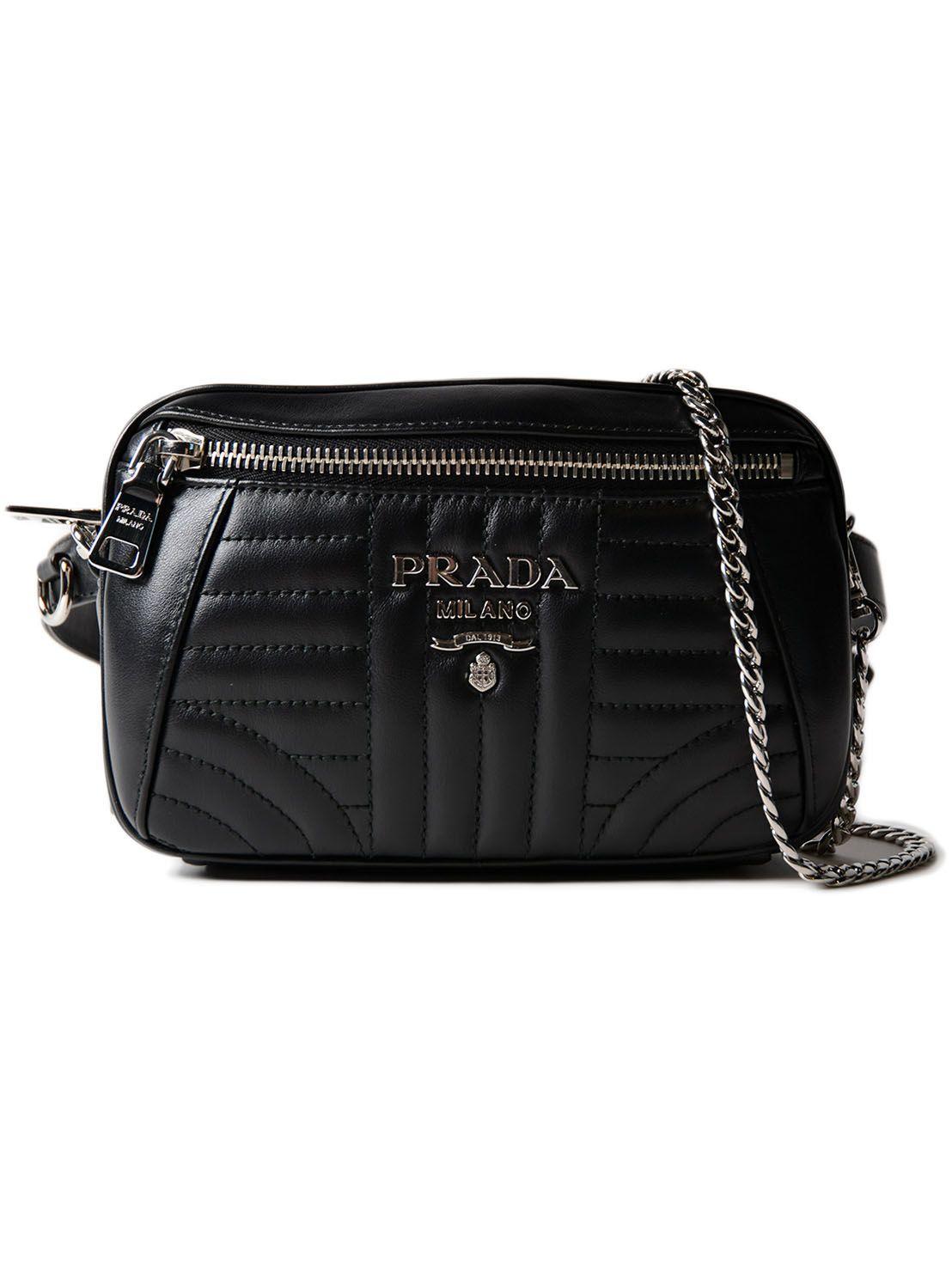 24aefef4f0df Prada Impunture Quilted Shoulder Bag In Nero   ModeSens
