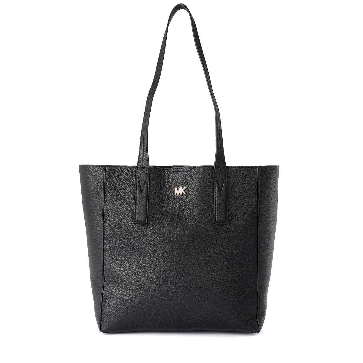 Michael Kors Junie Medium Black Leather Shoulder Bag In Nero