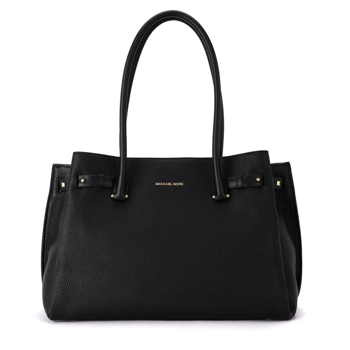 Michael Kors Addison Black Tumbled Leather Shoulder Bag In Nero