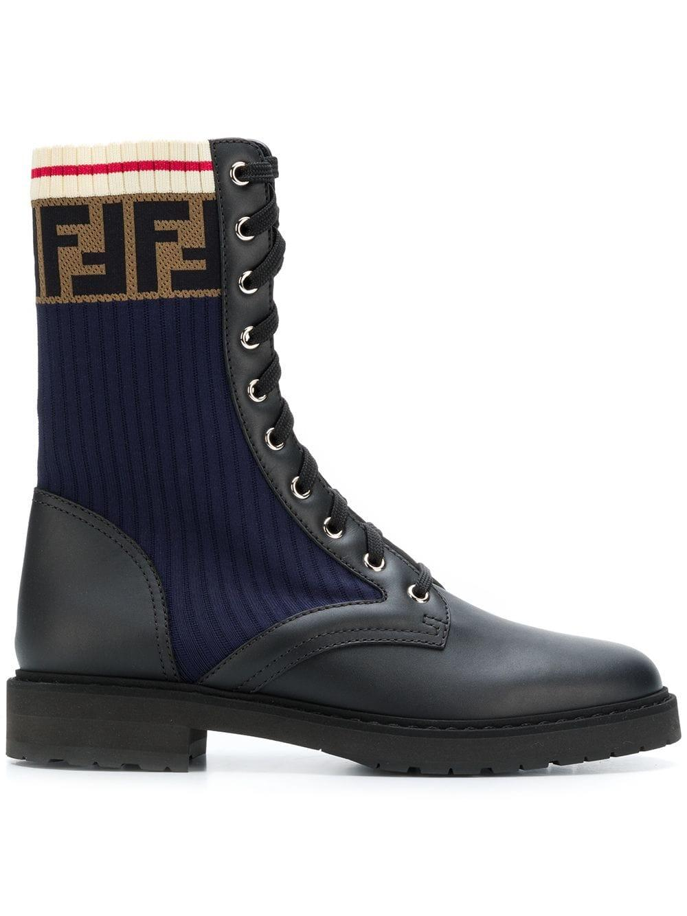 f9038cf8689 Fendi Logo-Jacquard Stretch-Knit And Leather Ankle Boots In Black ...