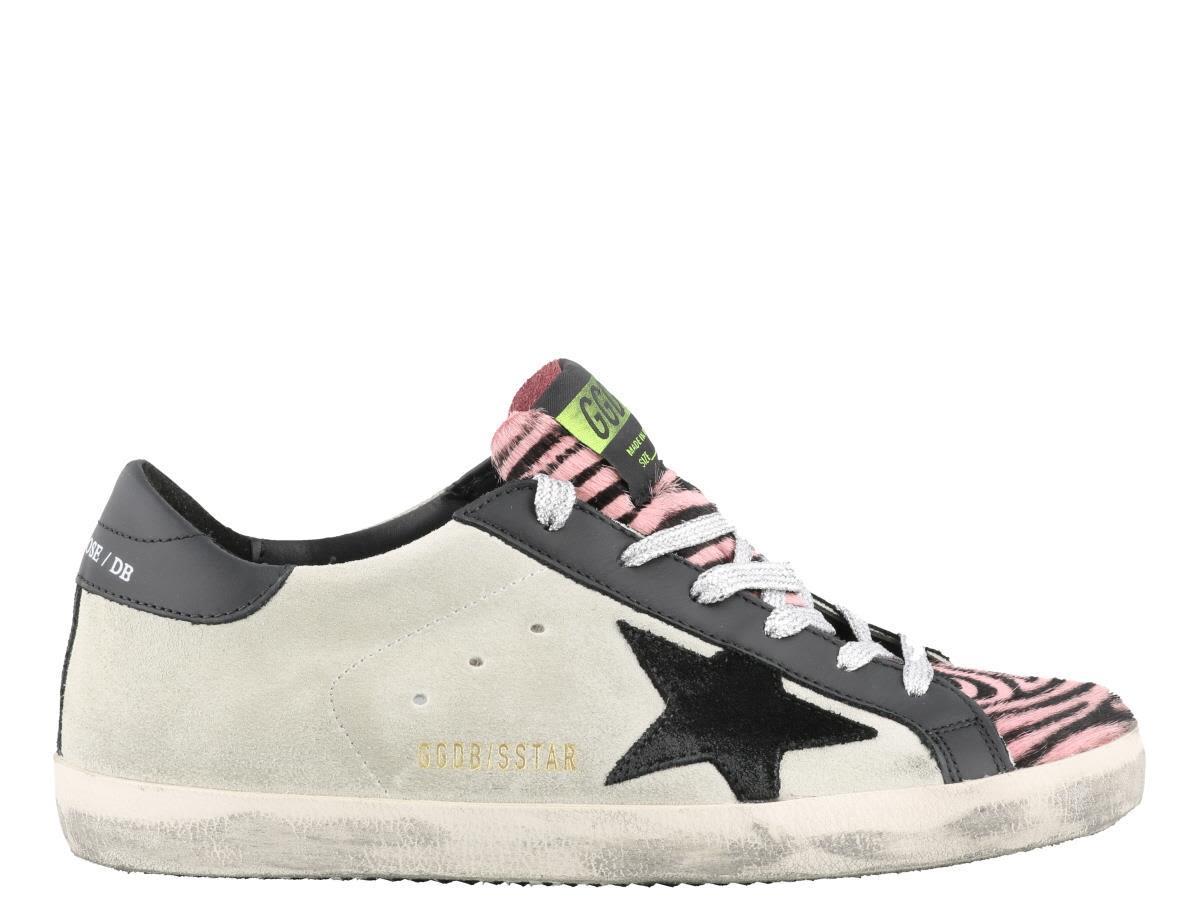 b25d8eeaa95c Golden Goose Superstar Sneakers In Ice Suede-Pink Zebra