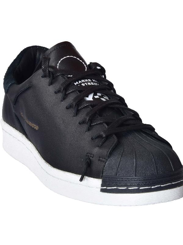 Y-3 Black Leather Sneakers In Black Black Ftwwht