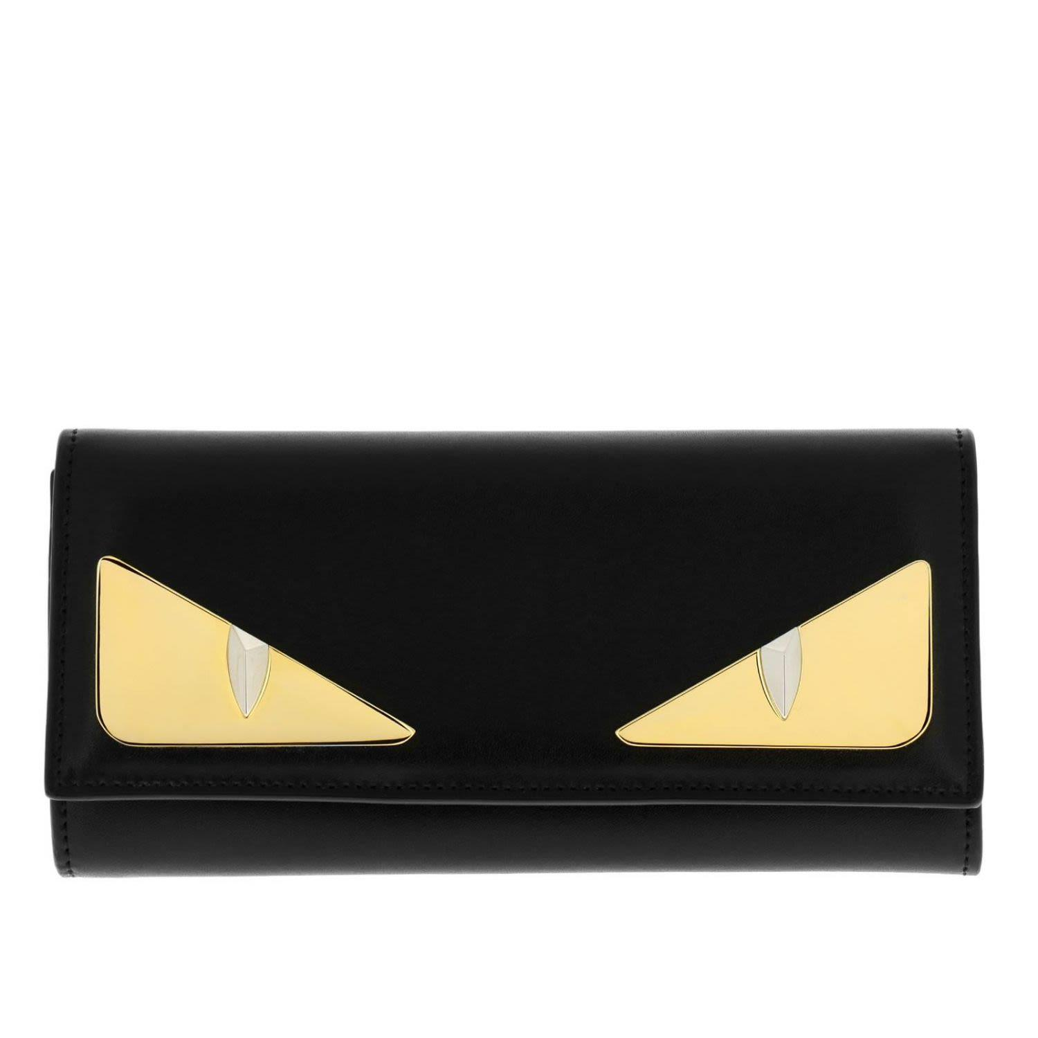 f6784ff82f6 Fendi Monster Eyes Continental Wallet In Smooth Leather With Maxi Metallic  Eyes Bag Bugs In Black