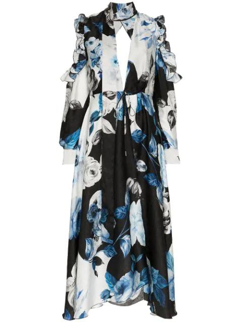 Off-white Cold-shoulder Floral-print Silk-moire Midi Dress In Blue