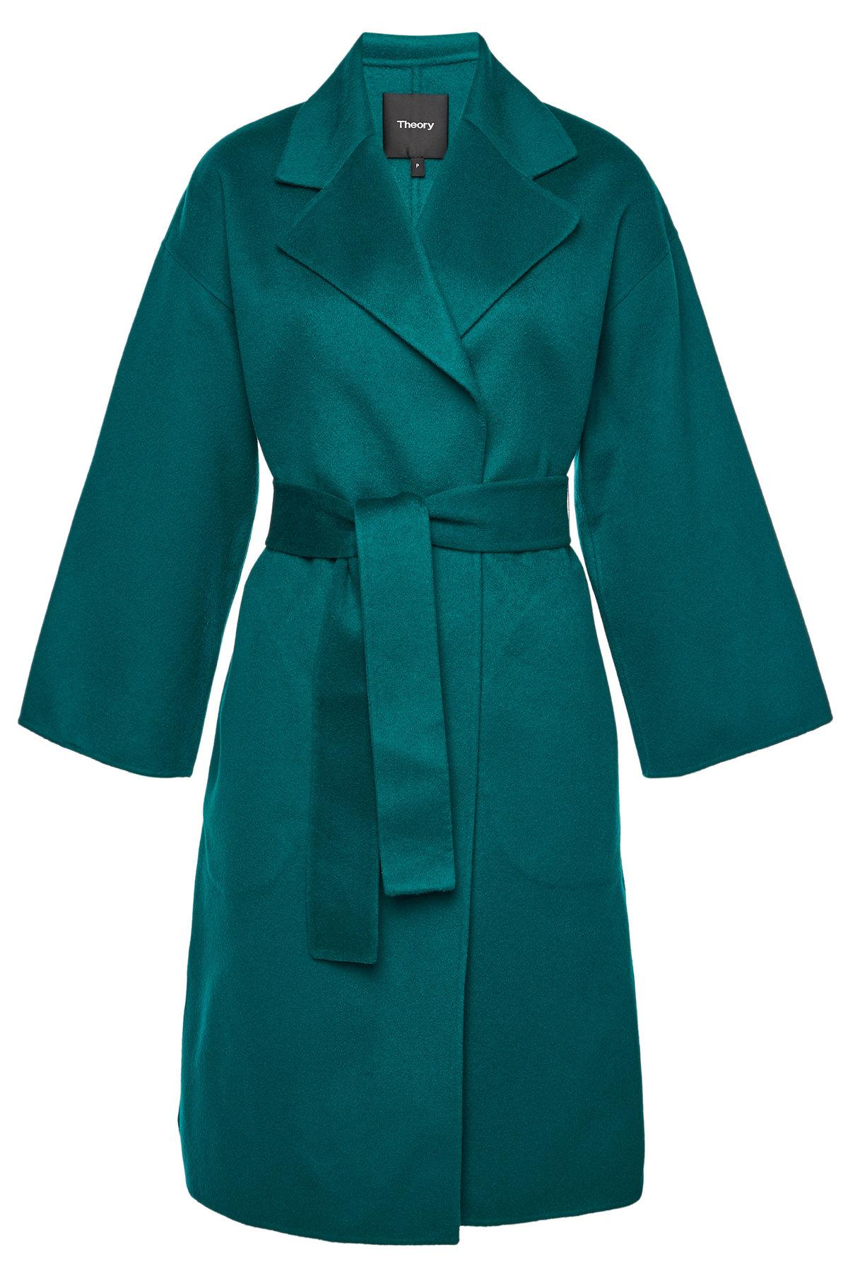 Theory Wool Coat With Cashmere In Green