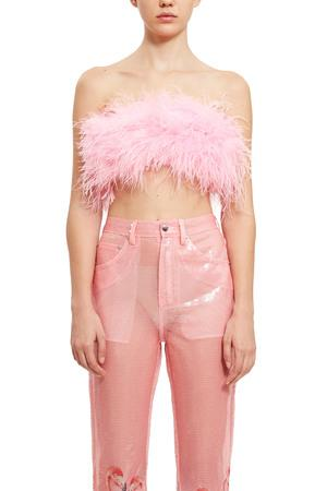 3ad3a12036 Adam Selman Opening Ceremony Feather Tube Top In Pink