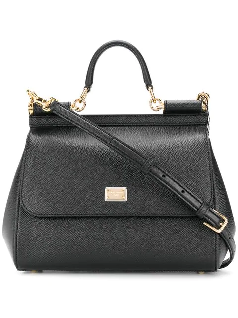 Dolce & Gabbana Black Big Sicily Dauphine Leather Top Handle Bag