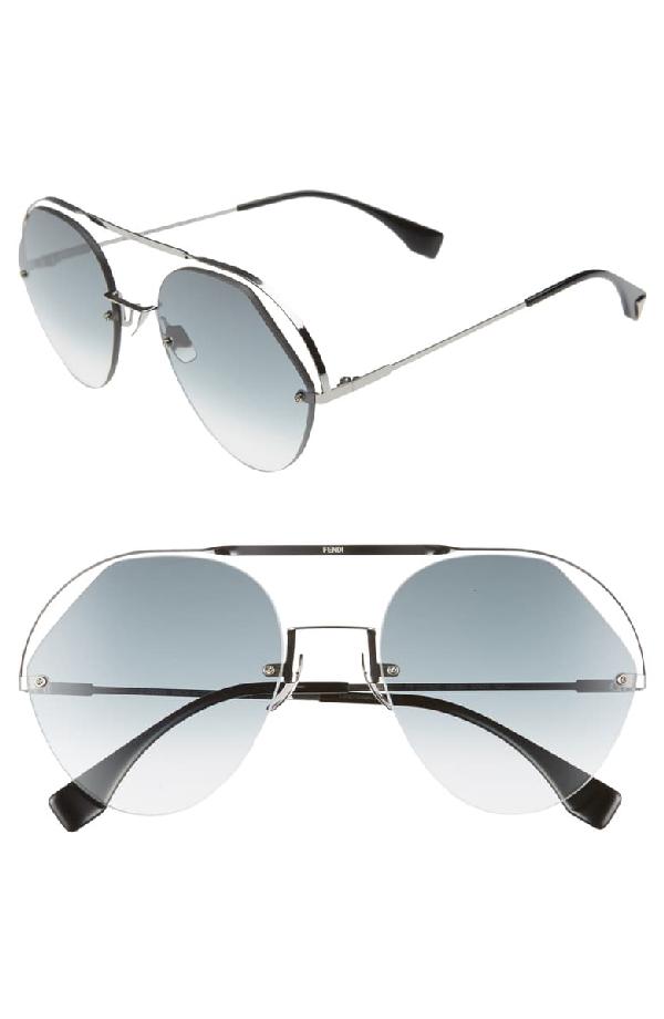 Fendi Women's Brow Bar Round Sunglasses, 57mm In Grey