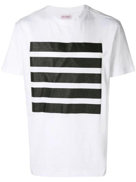 Palm Angels Stripes Stamp T-shirt - White