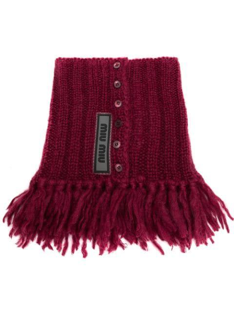 Miu Miu Knitted Collar Scarf - Red