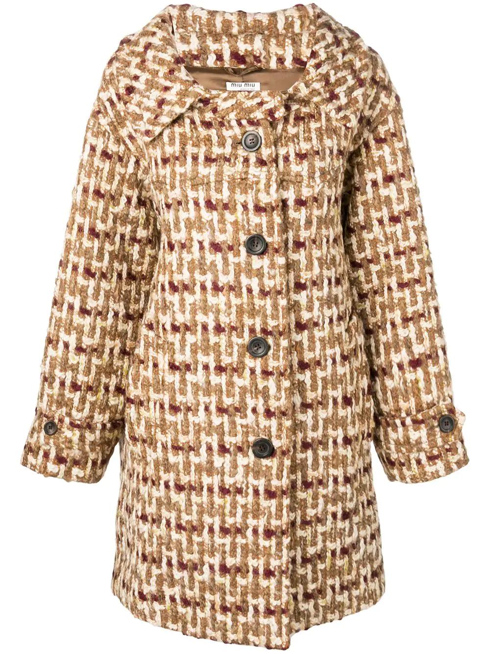 Miu Miu Embroidered Single-breasted Coat - Neutrals
